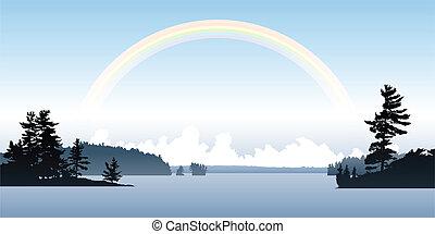 arco íris, lago