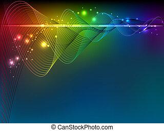 arco íris, linhas, esguichos, onda