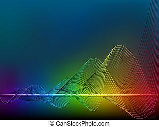 arco íris, linhas, onda