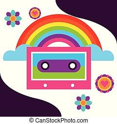 arco íris, livre, música, retro, cassete, flores, espírito