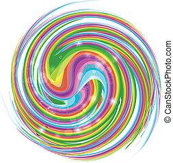 arco íris, luminoso, ondas, luzes