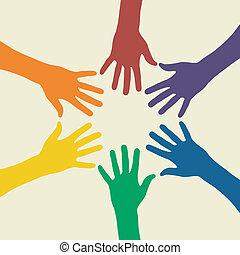 arco íris, mão