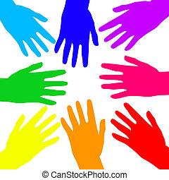 arco íris, mãos