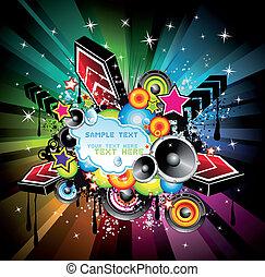 arco íris, música, fundo, discoteca
