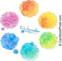 arco íris, manchas, cobrança, aquarela, cores, vetorial