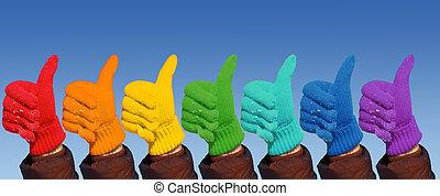 arco íris, mostrar, colagem, luvas, mãos, ok, gesto