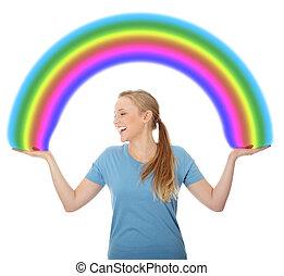 arco íris, mulher, jovem, segurando