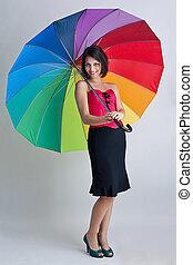 arco íris, mulher, posar, guarda-chuva
