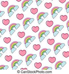 arco íris, natureza, nuvens, fundo, coração
