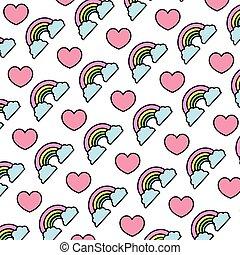 arco íris, nuvens, cor coração, natureza, fundo