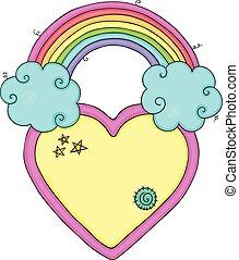 arco íris, nuvens, coração