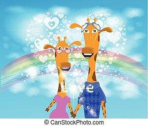 arco íris, nuvens, illustration., coração, céu, girafa