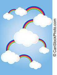 arco-íris, nuvens