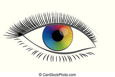 arco íris, olho, colorido, femininas, íris