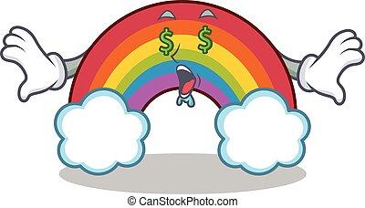 arco íris, olho, coloridos, dinheiro, personagem, caricatura