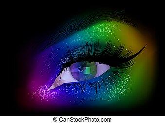 arco íris, olho mulher, maquilagem, partido