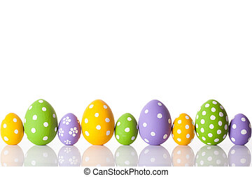 arco íris, ovos, páscoa, ordem, fila