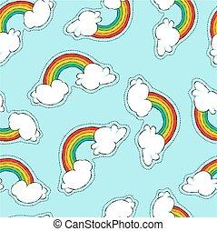 arco íris, padrão, seamless, remendo, desenhado, mão, ícone