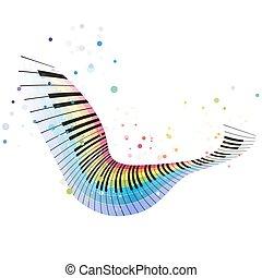 arco íris, piano, voando