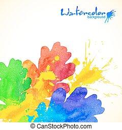 arco íris, pintado, carvalho, aquarela, cores, esguichos