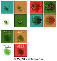 arco íris, pintado, luminoso, aquarela, manchas, cores, vetorial