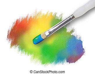 arco íris, pintura, splatter, textura, com, pincel