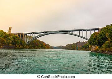 arco íris, ponte, quedas,  Niagara, durante, amanhecer