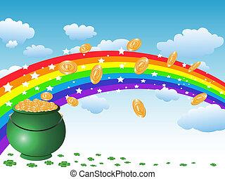 arco íris, pote, moedas, céu, ouro