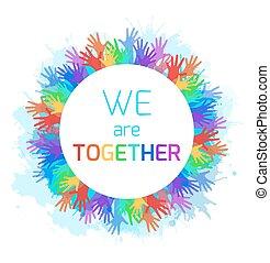arco íris, quadro, criatividade, spray., elemento, aquarela, unidade, vetorial, mãos, solidarity., seu, redondo