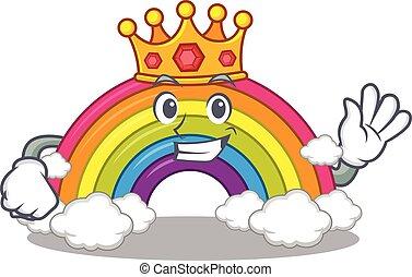 arco íris, rei, desenho, mascote, sábio, estilo