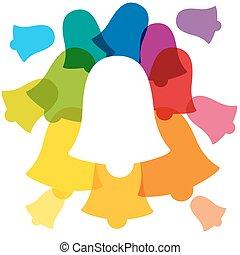 arco íris, repique, colorido, sinos