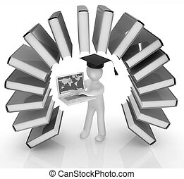 arco íris, semelhante, coloridos, graduação, livros, w, 3d, chapéu, homem