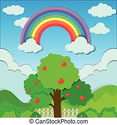 arco íris, sobre, árvore, maçã