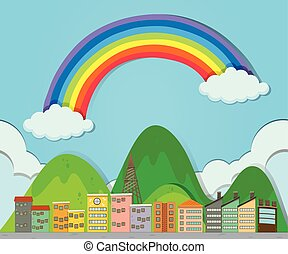 arco íris, sobre, cidade