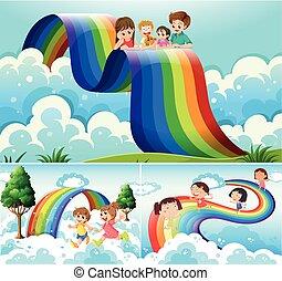 arco íris, sobre, crianças, feliz