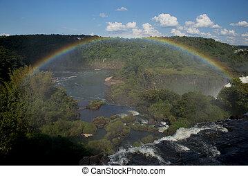 arco íris, sobre,  iguazu, quedas