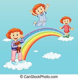 arco íris, sobre, meninas, três