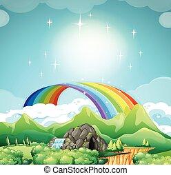 arco íris, sobre, montanhas