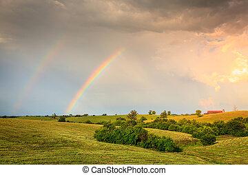 arco íris, sobre, terra cultivada, central, kentucly