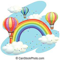 arco íris, sobre, voando, balões