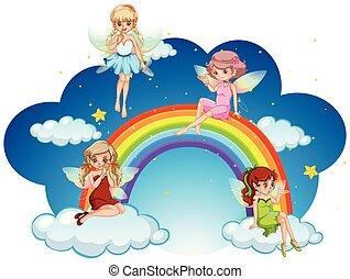 arco íris, sobre, voando, fadas