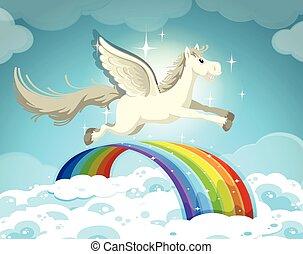 arco íris, sobre, voando, pegasus