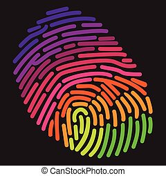 arco íris, stylized, impressão digital