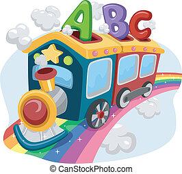 arco íris, trem, abc