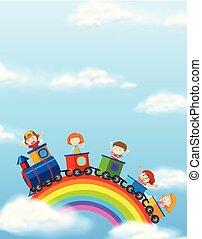 arco íris, trem, crianças, montando