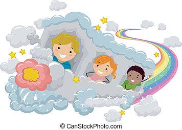 arco íris, trem, crianças, nuvem