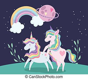arco íris, unicórnios, cabelo, caricatura, animal, planeta, capim