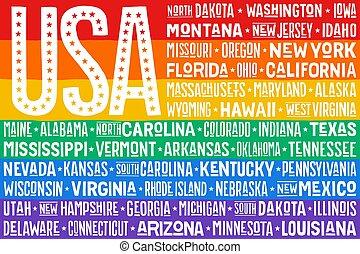 arco íris, unidas, cartaz, estados, bandeira, américa