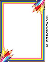 arco íris, vetorial, borda, lápis