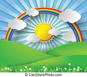 arco íris, vetorial, illustration., abstratos, luz sol., papel